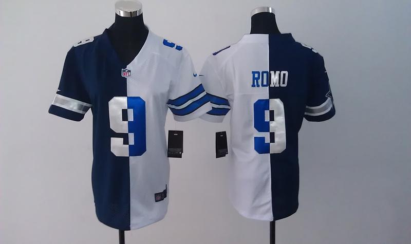 Womens Dallas Cowboys 9 Tony Romo Blue White Nike Elite Split Jersey