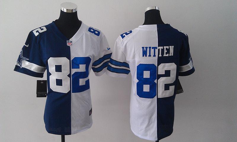 Womens Dallas Cowboys 82 Jason Witten Blue And White Nike Elite Split Jersey