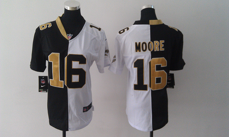 Womens New Orleans Saints 16 Lance Moore Black White Nike Elite Split Jersey