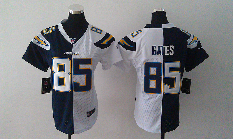 Womens San Diego Charger 85 Gates Blue and white Nike Elite Split Jersey