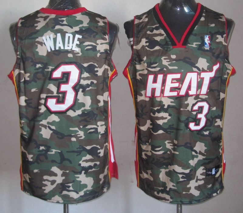 NBA Miami Heat 3 Dwyane Wade Camo Jerseys