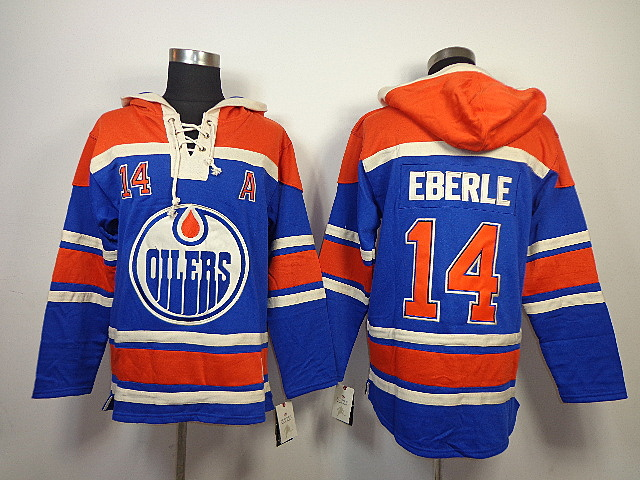 NHL Edmonton Oilers 14 Jordan Eberle Blue Old Time Hockey Sawyer Lace Up Pullover Hooded Sweatshirt