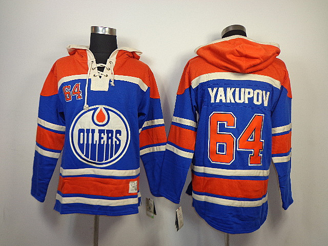 NHL Edmonton Oilers 64 Nail Yakupov Blue Old Time Hockey Sawyer Lace Up Pullover Hooded Sweatshirt