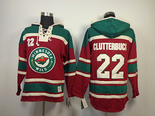 NHL Minnesota Wild 22 Cal Clutterbuck Red Old Time Hockey Sawyer Lace Up Pullover Hooded Sweatshirt