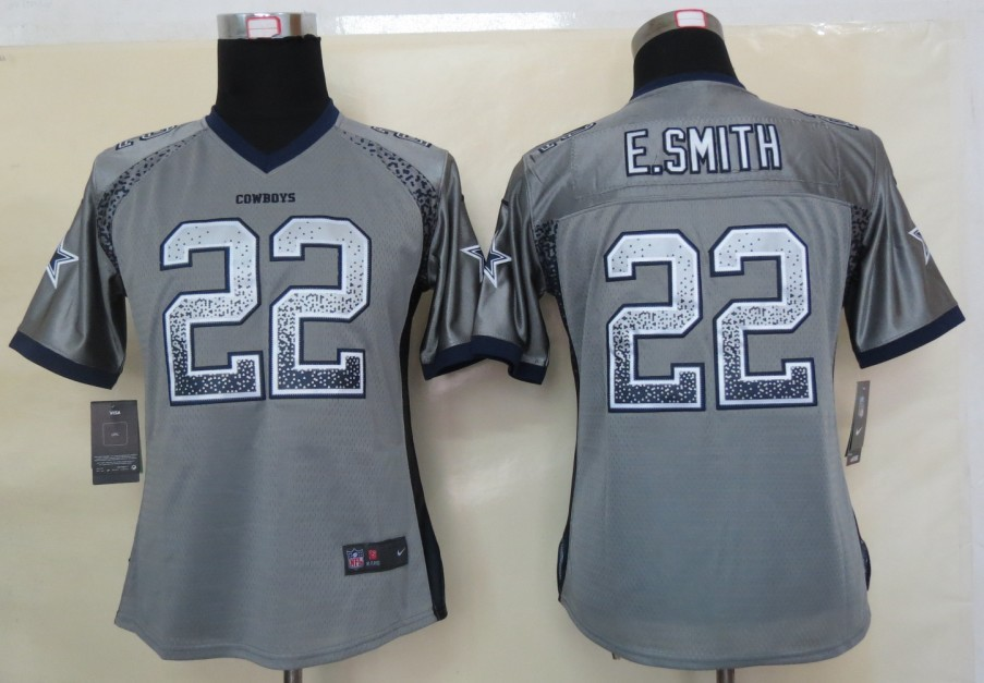 Women 2013 NEW Nike Dallas cowboys 22 E.Smith Drift Fashion Grey Elite Jerseys