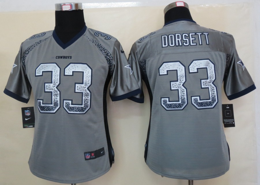Women 2013 NEW Nike Dallas cowboys 33 Dorsett Drift Fashion Grey Elite Jerseys