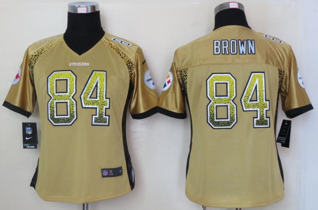 Women 2013 NEW Nike Pittsburgh Steelers 84 Brown Drift Fashion Gold Elite Jerseys