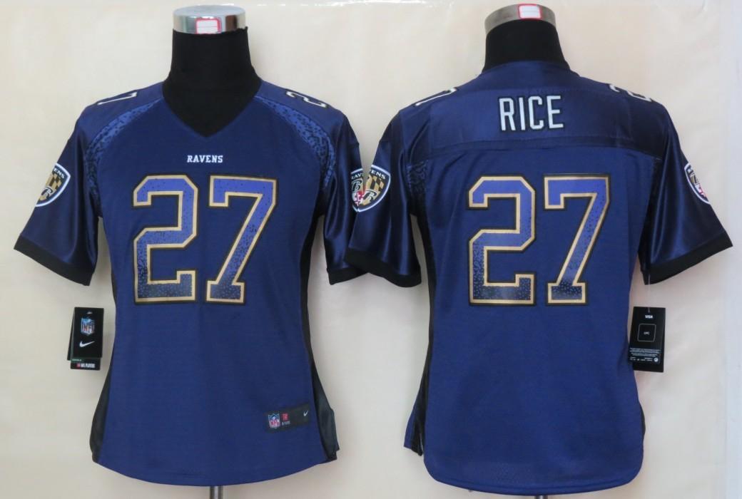 Women 2013 NEW Nike Baltimore Ravens 27 Rice Drift Fashion Purple Elite Jerseys