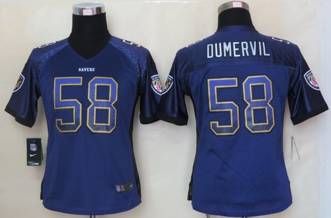 Women 2013 NEW Nike Baltimore Ravens 58 Dumervil Drift Fashion Purple Elite Jerseys