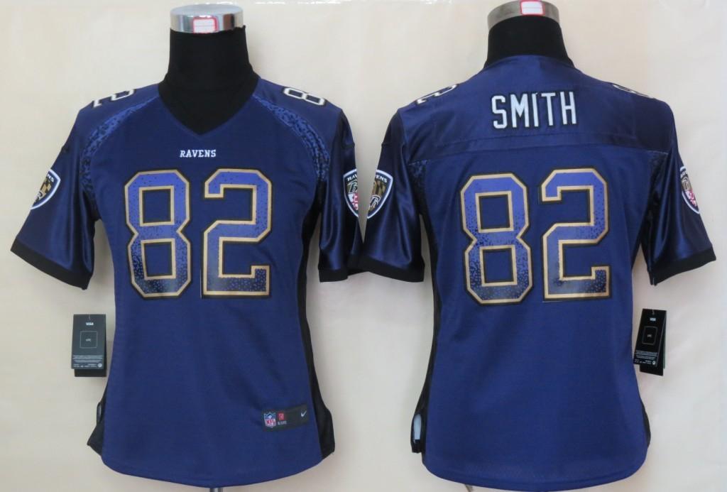 Women 2013 NEW Nike Baltimore Ravens 82 Smith Drift Fashion Purple Elite Jerseys