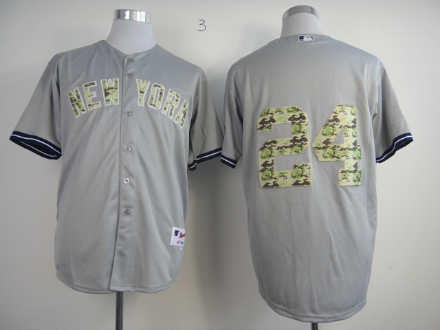 MLB New York Yankees 24 Robinson Cano Grey Camo Jerseys