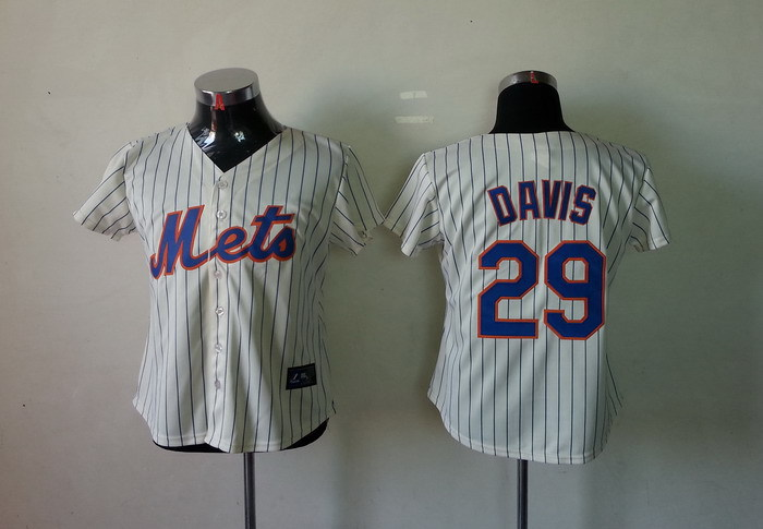 MLB Womens New York Mets 29 Ike Davis White Jerseys