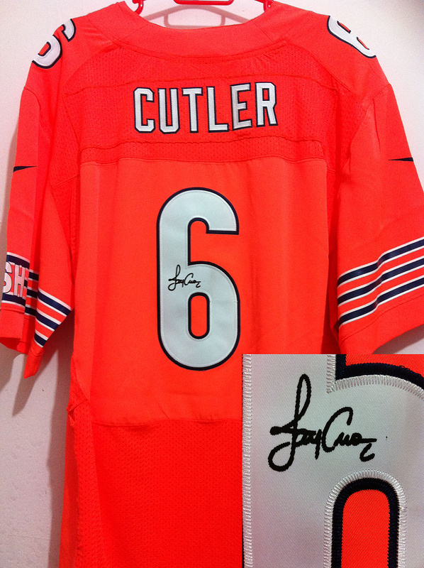 Chicago Bears 6 Jay Cutler Orange Nike Elite With player signed Jersey