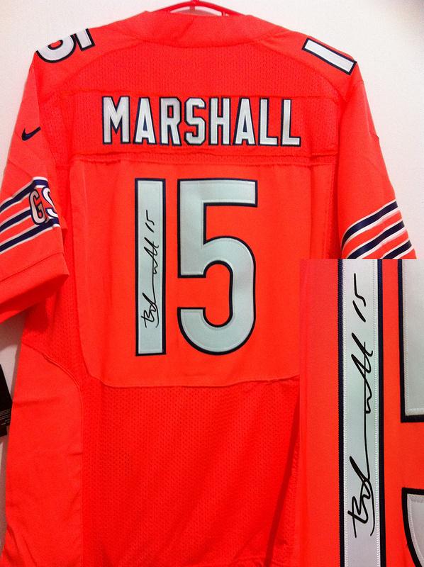 Chicago Bears 15 Brandon Marshall Orange Nike Elite With player signed Jersey