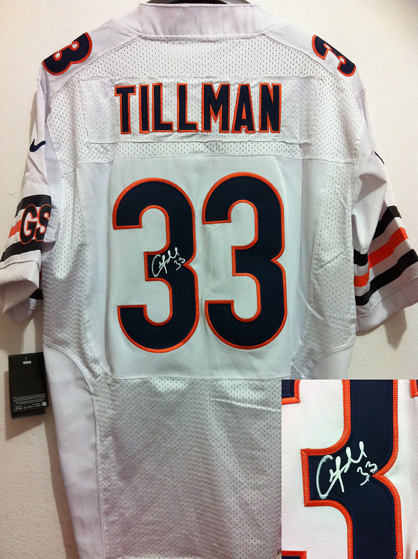 Chicago Bears 33 Charles Tillman White Nike Elite With player signed Jersey
