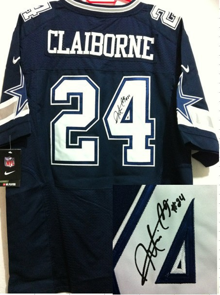 Dallas Cowboys 24 Morris Claiborne Blue Nike Elite With player signed Jersey