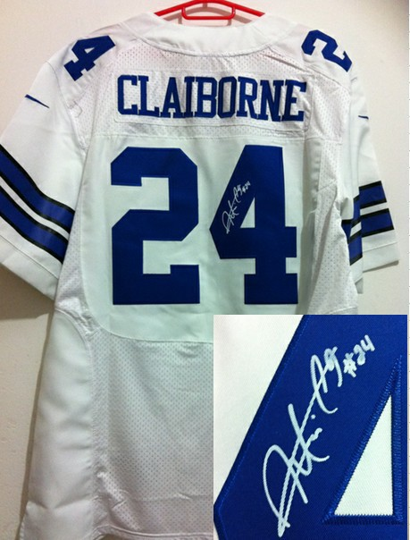 Dallas Cowboys 24 Morris Claiborne White Nike Elite With player signed Jersey
