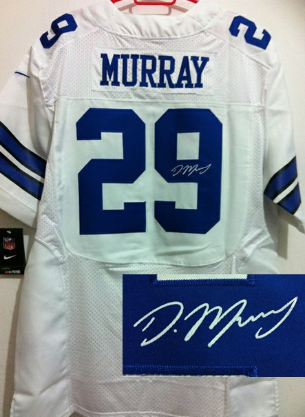 Dallas Cowboys 29 DeMarco Murray White Nike Elite With player signed Jersey