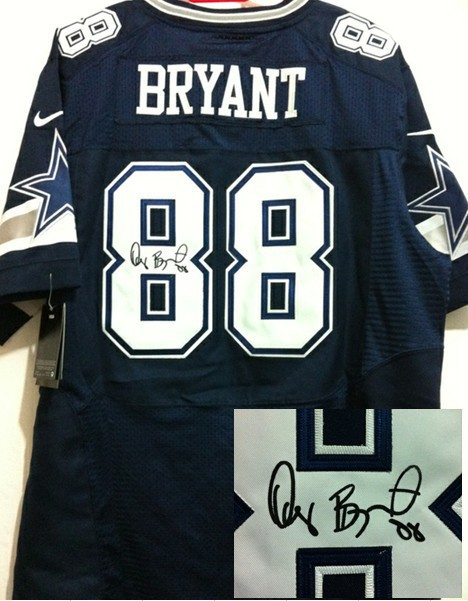 Dallas Cowboys 88 Dez Bryant Blue Nike Elite With player signed Jersey