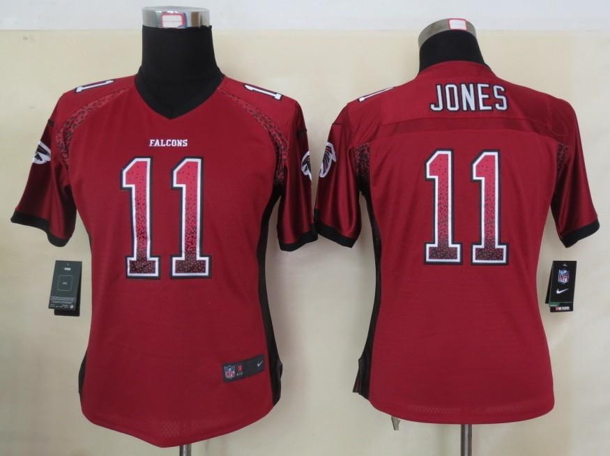 Women 2013 New Nike Atlanta Falcons 11 Jones Drift Fashion Red Elite Jerseys
