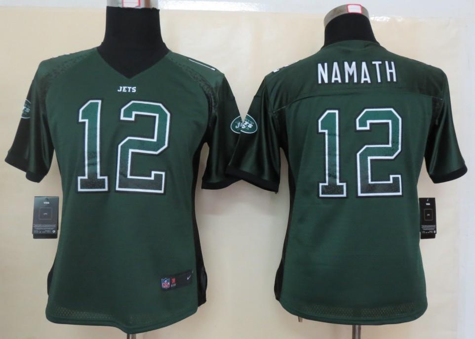 Women 2013 NEW Nike New York Jets 12 Namath Drift Fashion Green Elite Jerseys