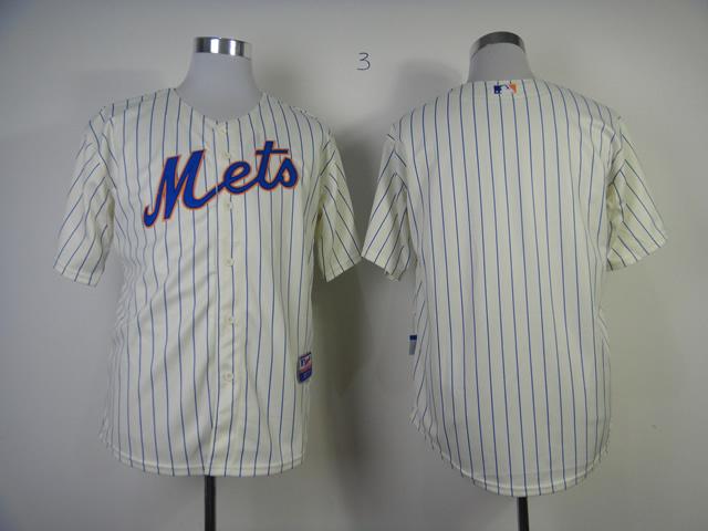 MLB New York Mets Blank White Pinstriped Jersey