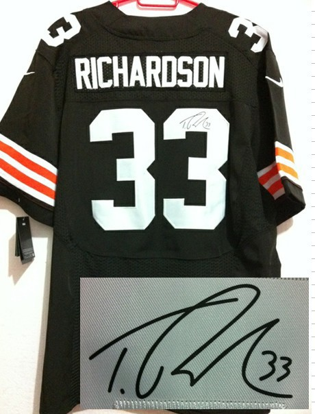 Cleveland Browns 33 Trent Richardson Brown Nike Elite With player signed Jersey