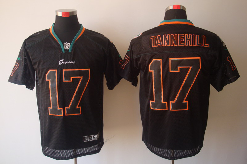 Miami Dolphins 17 Tannehill Nike Lights Out Black Elite Jerseys