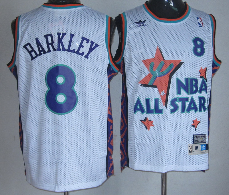 NBA 8 Charles Barkley 1995 all star game white Jerseys