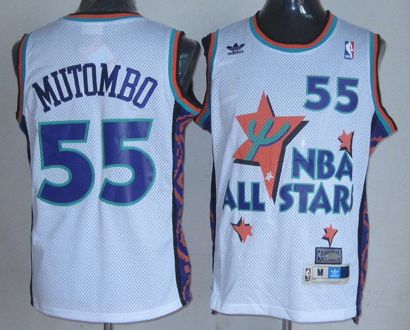 NBA 55 Mutombo 1995 all star game white Jerseys