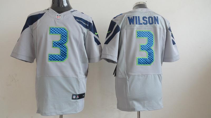 Seattle Seahawks 3 Russell Wilson Gray Grey 2013 Nike Elite Jersey