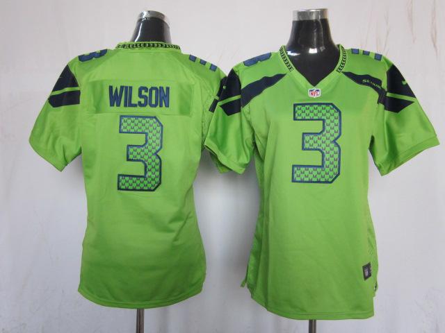 Womens Seattle Seahawks 3 Russell Wilson Green 2013 Nike Jersey