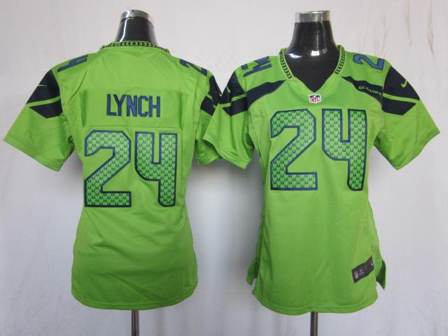 Womens Seattle Seahawks 24 Marshawn Lynch Green 2013 Nike Jersey