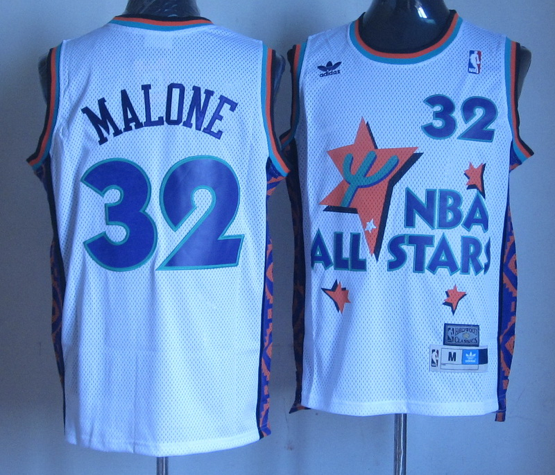 NBA 32 Carl Malone 1995 all star white jersey