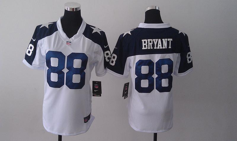 Womens Dallas Cowboys 88 Dez Bryant White Nike Thanksgiving Jerseys