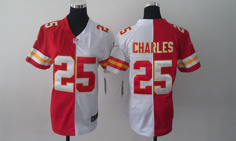 Womens Kansas City Chiefs 25 Jamaal Charles Red and white Nike Elite Split Jersey