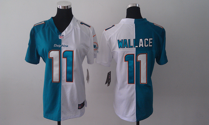 Womens Miami Dolphins 11 Wallace White and green Nike Elite Split Jersey