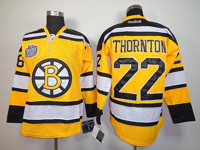 NHL Reebok Boston Bruins 22 Shawn Thornton Yellow Jersey