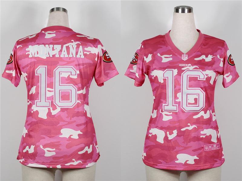 Womens San Francisco 49ers 16 Joe Montana 2013 Nike Fashion New Pink Camo Jerseys