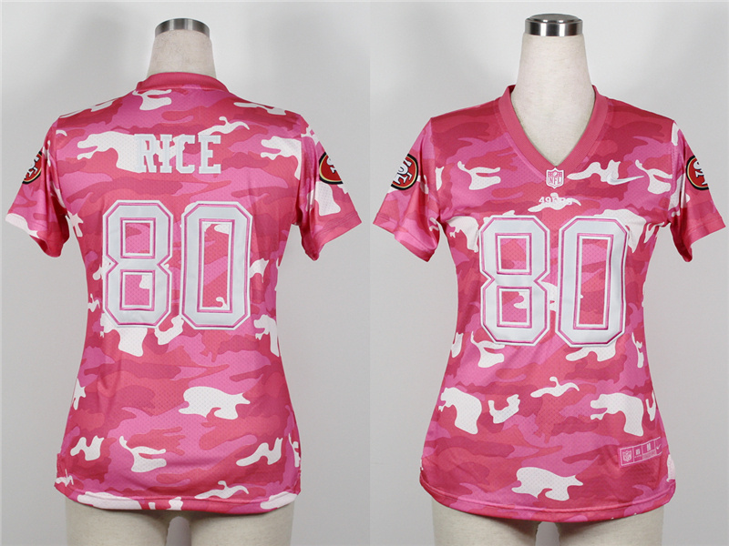 Womens San Francisco 49ers 80 Jerry Rice 2013 Nike Fashion New Pink Camo Jerseys