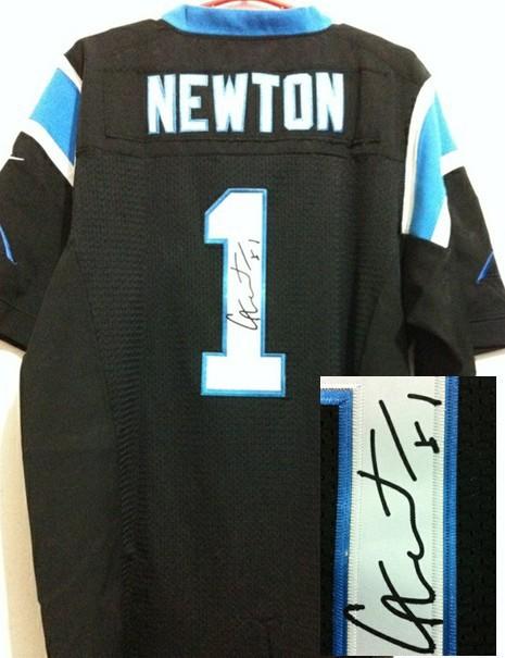 Carolina Panthers 1 Cam Newton Black Nike Elite With player signed Jersey