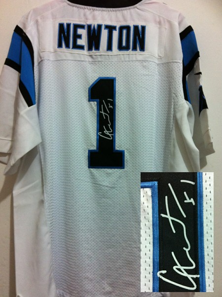 Carolina Panthers 1 Cam Newton White Nike Elite With player signed Jersey