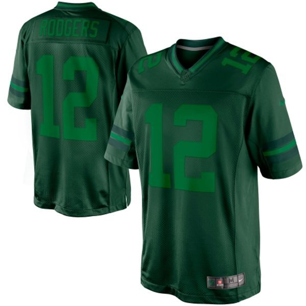 Green Bay Packers 12 Aaron Rodgers Green Nike Limited Drenched Jersey