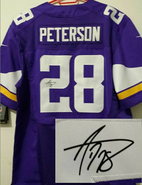 Minnesota Vikings 28 Adrian Peterson Purple Nike Elite With player signed Jersey