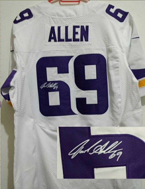 Minnesota Vikings 69 Jared Allen White Nike Elite With player signed Jersey