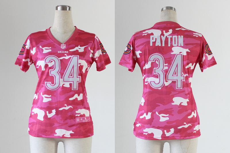 Womens Chicago Bears 34 Walter Payton 2013 Nike Fashion New Pink Camo Jerseys