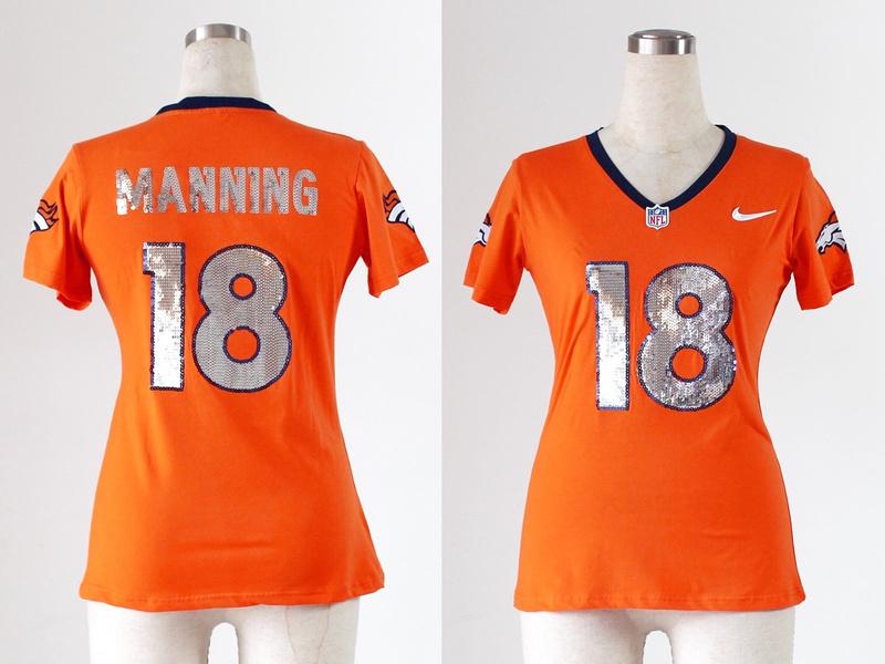 Womens Denver Broncos 18 Manning Orange Handwork Sequin lettering Fashion Jerseys