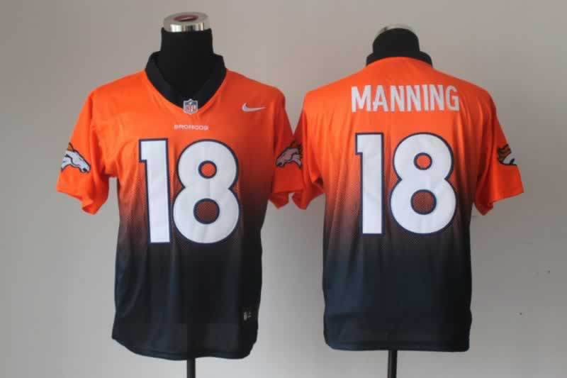Denver Broncos 18 Peyton Manning Orange NFL Nlike Drift Fashion II Elite Jerseys