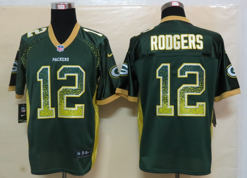 2013 NEW Nike Green Bay Packers 12 Rodgers Drift Fashion Green Elite Jerseys