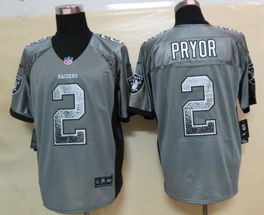 2013 New Nike Oakland Raiders 2 Pryor Drift Fashion Grey Elite Jerseys